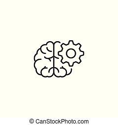 kreska, brainstorming, białe tło, ikona