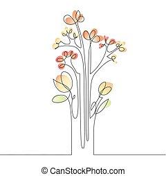 kreska, ciągły, kwiaty, rysunek