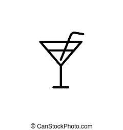kreska, czarnoskóry, cienki, cocktail, ikona