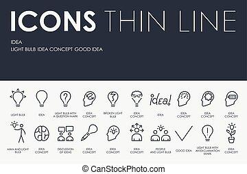 kreska, idea, cienki, ikony