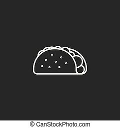 kreska, ikona, białe tło, taco