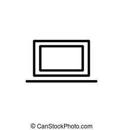 kreska, ikona, laptop, cienki