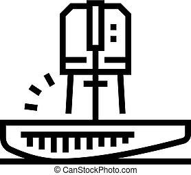 kreska, ikona, wektor, cięty, fish, ilustracja, tuńczyk