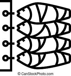 kreska, ikona, wektor, ilustracja, fish, tuńczyk, tusze