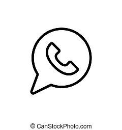 kreska, ikona, whatsapp, cienki