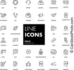 kreska, kontakt, set., na, ikony