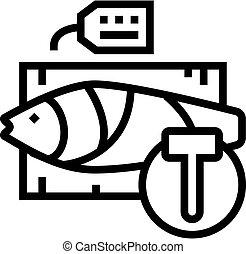 kreska, licytacja, stosunek, ikona, wektor, ilustracja, fish, tuńczyk