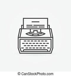 kreska, maszyna do pisania, ikona