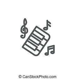 kreska, muzyka, białe tło, ikona