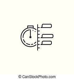 kreska, planowanie, białe tło, ikona