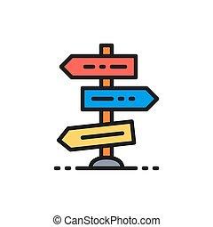 kreska, przecięcie się, znak, skrzyżowanie dróg, płaski, albo, wektor, droga, icon., kolor, handel
