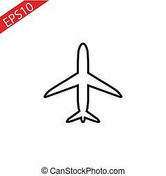 kreska, samolot, białe tło, ikona