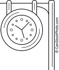 kreska, stacja, icon., zegar