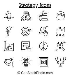kreska, styl, komplet, strategia, &, cienki, planowanie, ikona