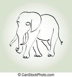 kreska, styl, minimalny, słoń