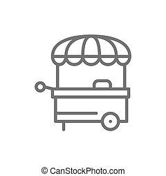 kreska, wektor, icon., ulica robią zakupy, jadło, kram