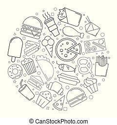 kreska, wektor, linearny, jadło, pattern., ulica, tło, icon., koło