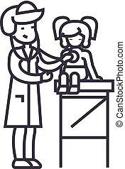 kreska, wektor, tło, egzamin, dziewczyna, doktor, medyczny, ikona, znak, pediatra, doktor kobiety, niemowlę, editable, stetoskop, ilustracja, uderzenia, młody