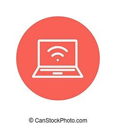 kreska, wifi, internet, cienki, ikona