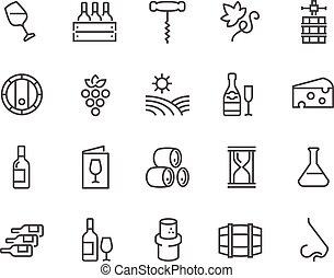 kreska, wino, ikony