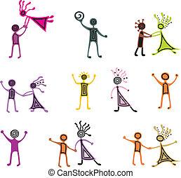 kreslení, pictograms, o, tančení, národ
