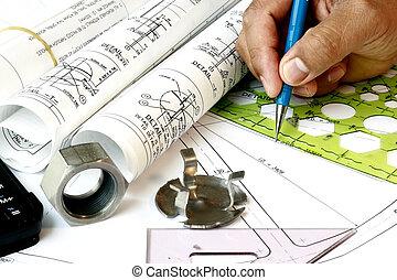 kreslič, s, inženýrství, nakreslit plán