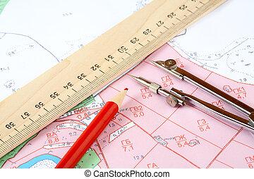 kreslit, mapa, topographic, kružítko, pravítko