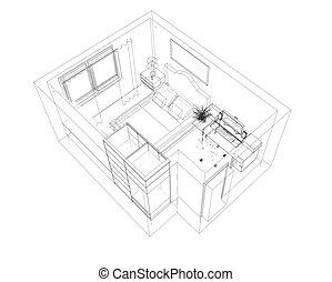 kreslit, skica, o, ta, místnost