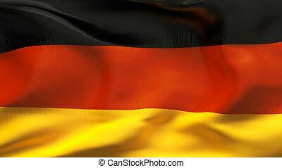kreukelig, vlag, duitsland, wind