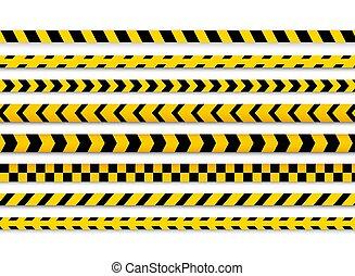 kreuz, barrikade, linie., gefahr, warnung, band, achtung, not, barrier., polizei