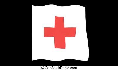 kreuz, flag., winkende , rotes