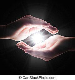 kreuz, licht, in, der, dunkelheit, in, hand
