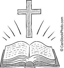 kreuz, und, bibel, skizze