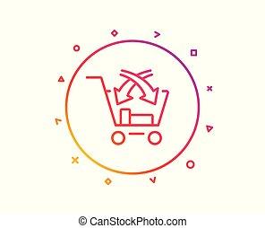 kreuz, verkaufen, linie, icon., markt, einzelhandel, zeichen., vektor