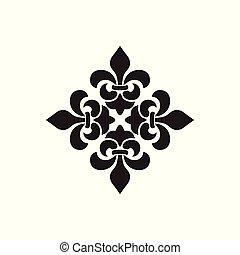 kreuz, von, lilien, königlich, ritterwappen, cross., fleur de lis, zeichen, musketier, icon., vektor, element, weiß, hintergrund