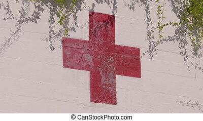 kreuz, wand, symbol, gemalt, gegen, weiß rot