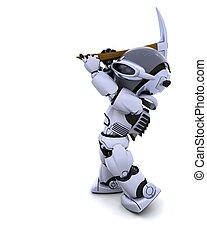 kreuzhacke, roboter, axt