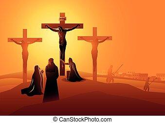 kreuzigung, jünger, john, mary, geliebt, mutter, jesus, ...
