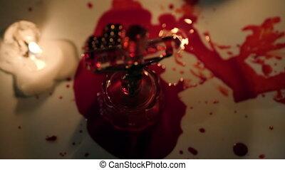 krew, jezus, zaświecić, krzyż, do góry szczelnie, świeca