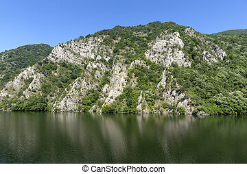 Summer ladscape of Krichim Reservoir at Rhodopes Mountain, Plovdiv Region, Bulgaria