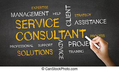 kridt, konsulent, tjeneste, illustration