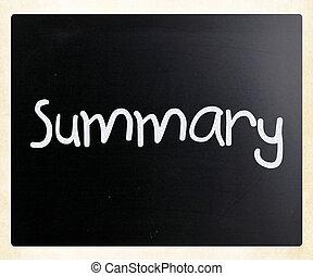 "kridt, ""summary"", hvid, handwritten, sort vægtavle"