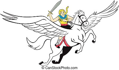 krieger, pferd, valkyrie, fliegendes, amazonas, karikatur