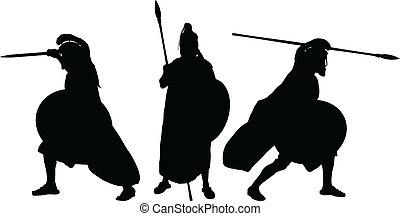 krieger, silhouetten, uralt