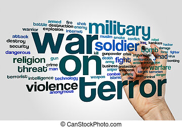 krig, på, skräck, ord, moln