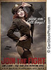 krig, tjänsteman, amerikan, ii, styrkor, värld, sexig