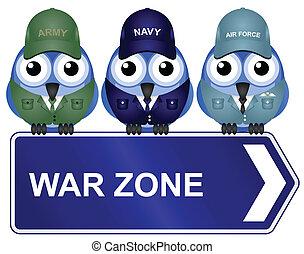 krig, zone, tegn