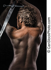 krigare, dröm, profil, svärd, smutsa ner, skinn, drömma,...