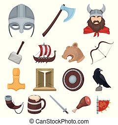 krigare, sätta, illustration., vikings, ikonen, symbol, norsk, kollektion, vektor, nät, design.old, attributes, tecknad film, block