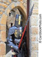 krigare, skyddande, medeltida, metall, soldat, ha på sig